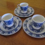 Arabia Finland Ali Blue Coffee Cup Trios Set of 3 1960s