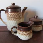 Stoneware Japan 1970s Retro Coffee Milk Sugar Brown Textured