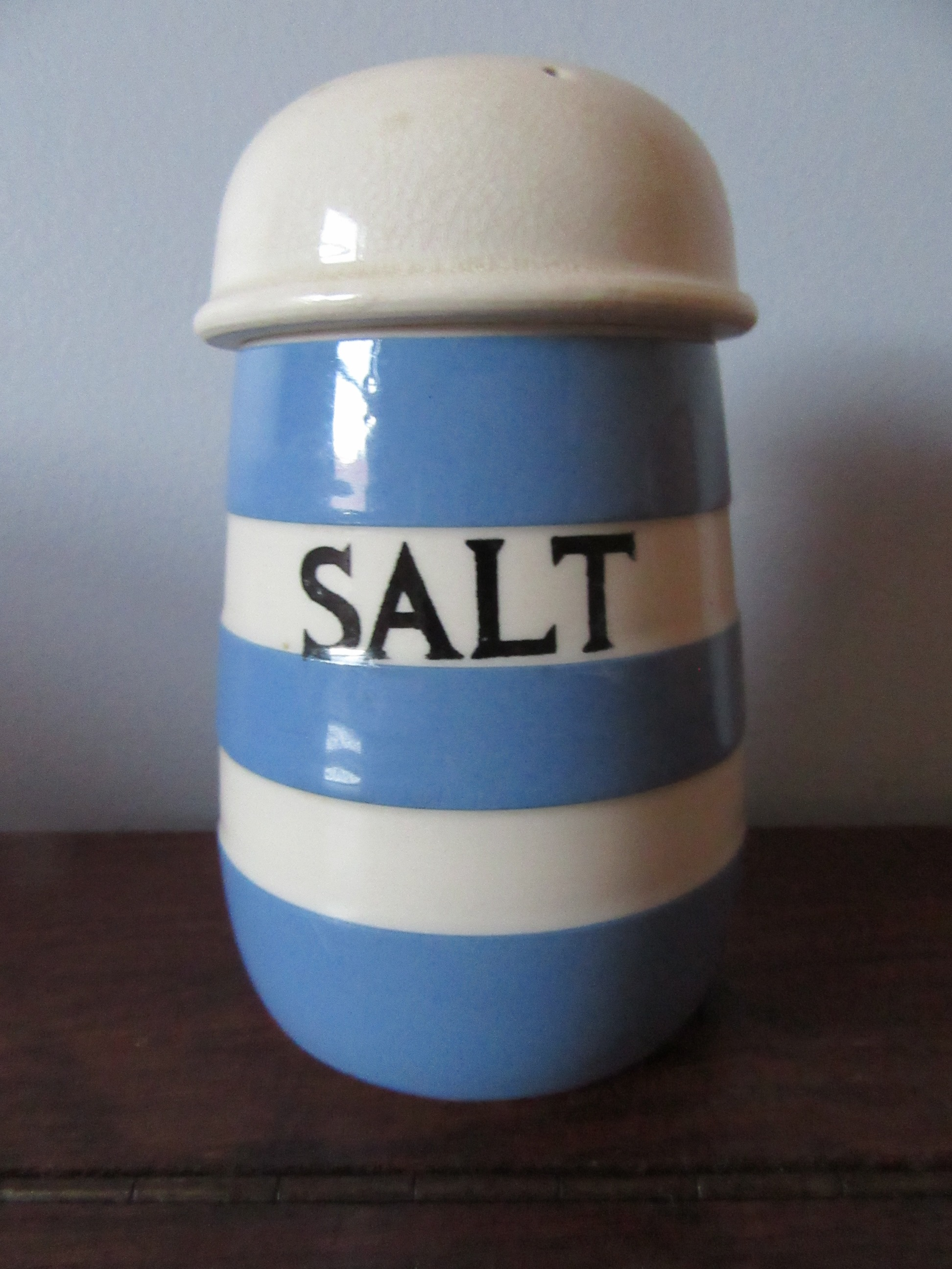 Cornish Ware Salt Shaker Large TG Green 1930s Blue & White