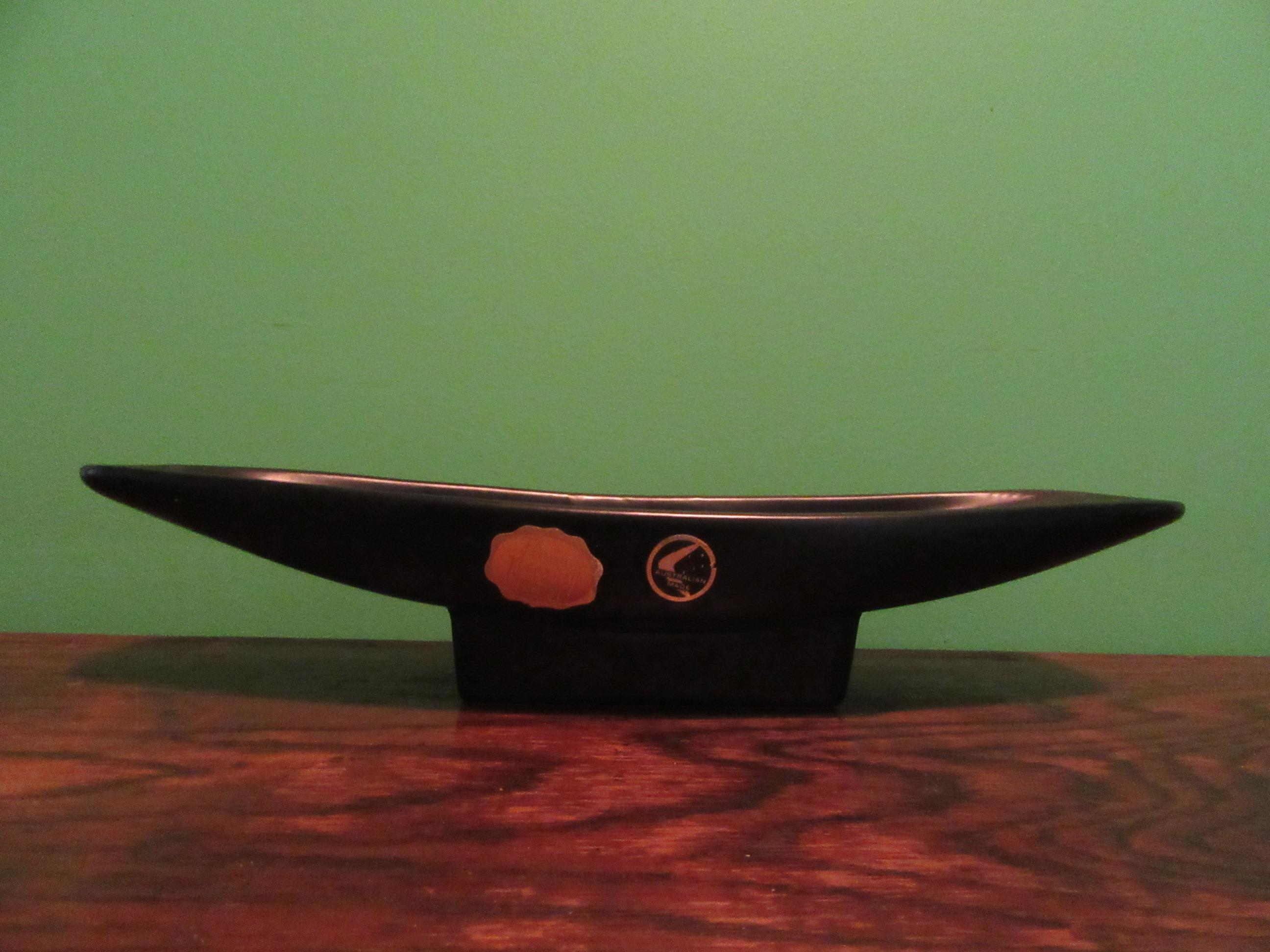 Diana Pottery Ikebana Vase Black Slipware Australia 1960s B78