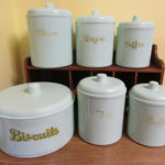 EON Canisters Set 6 Bakelite Mint Green Australia 1930s inc Biscuits
