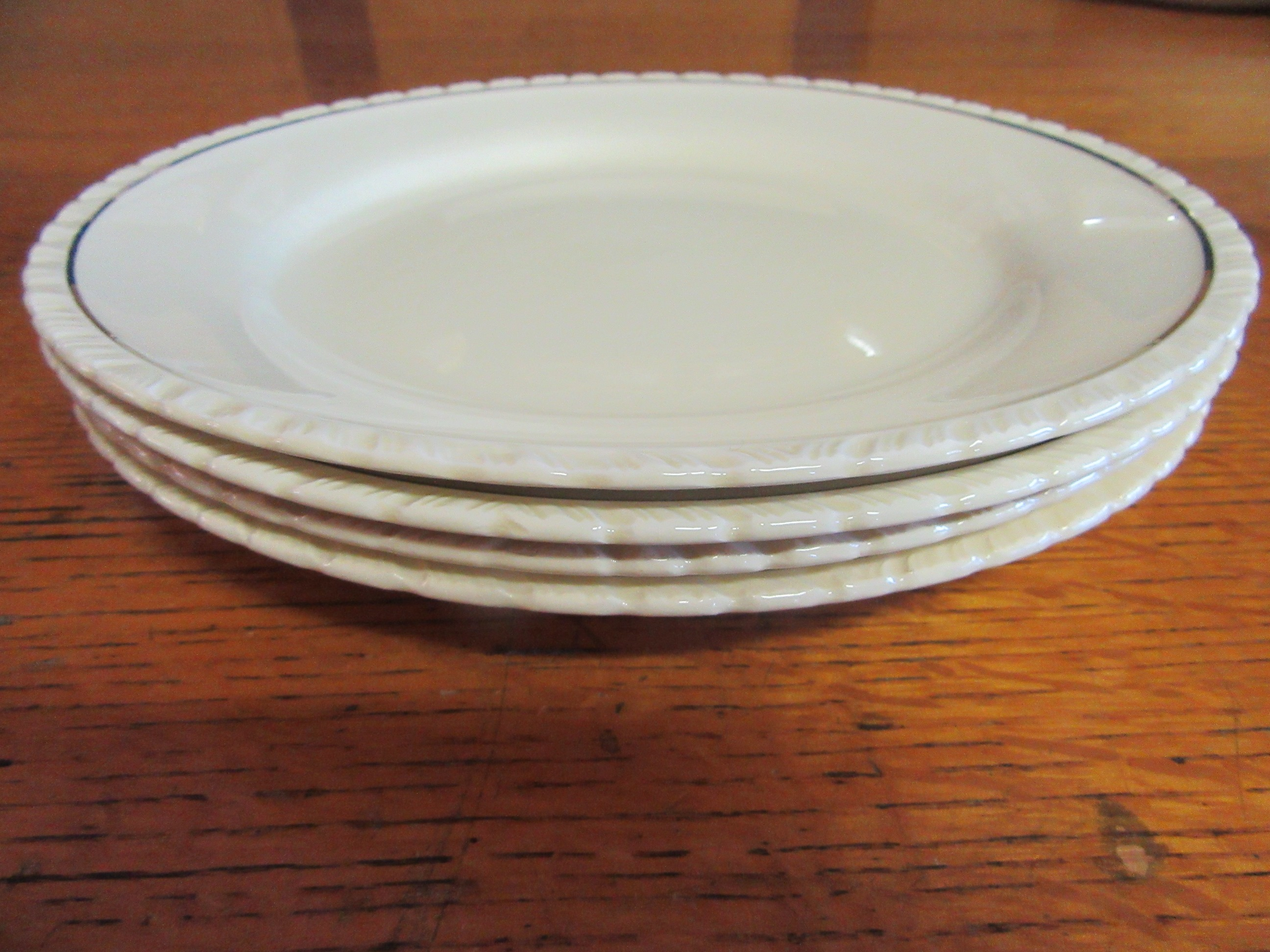 New Hall Dinner Plates Set of 4 Diana Cream+Gold 1930s Hanley England & English Pottery Industrial Commercial and Studio to the present day