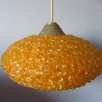 Spaghetti Pendant Light 1960s Gold Spun Lucite Space-age