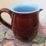 Denby Pottery Jug 1970s 300ml England Brown Blue