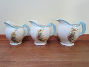 New Hall Jugs with floral transfer from Hanley England