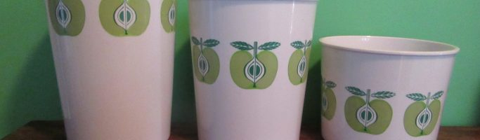 Arabia Finland Green Apple Handy Can made in Melbourne.. What? – Op Shop Find