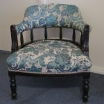 Victorian Parlour Chair Ebonised Salon Grandmother Nursing Upholstered Blue