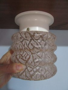 1930s Pink Crackle Light Fitting