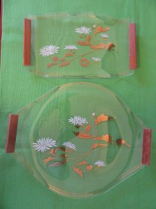 Japan Etched Glass Platters